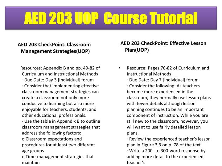 AED 203 CheckPoint: Classroom Management Strategies(UOP)