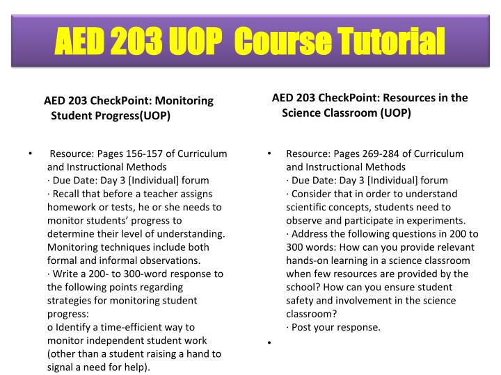 AED 203 CheckPoint: Monitoring Student Progress(UOP)
