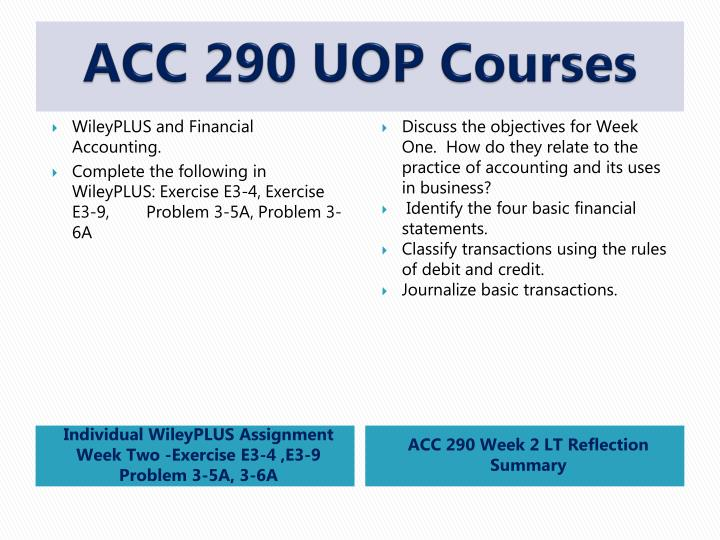 ACC 290 UOP Courses