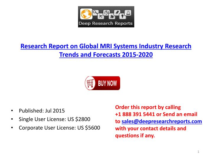Research Report on Global MRI Systems Industry