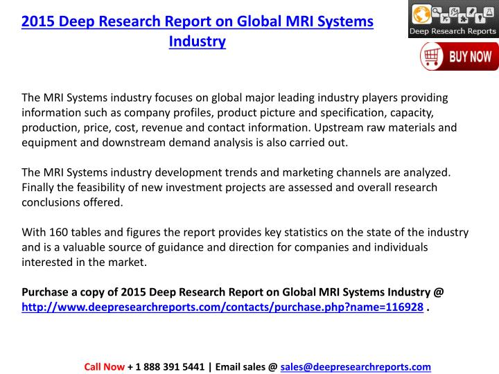 2015 Deep Research Report on Global MRI Systems Industry
