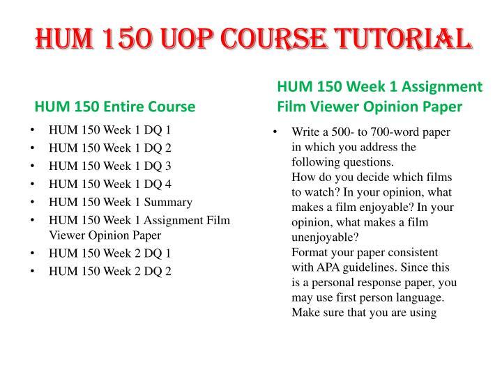 hum 150 week 1 film paper