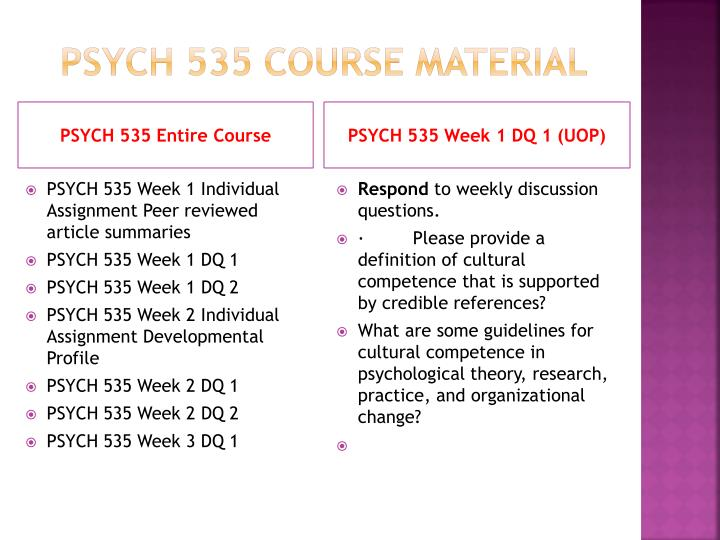 Psych 535 course material