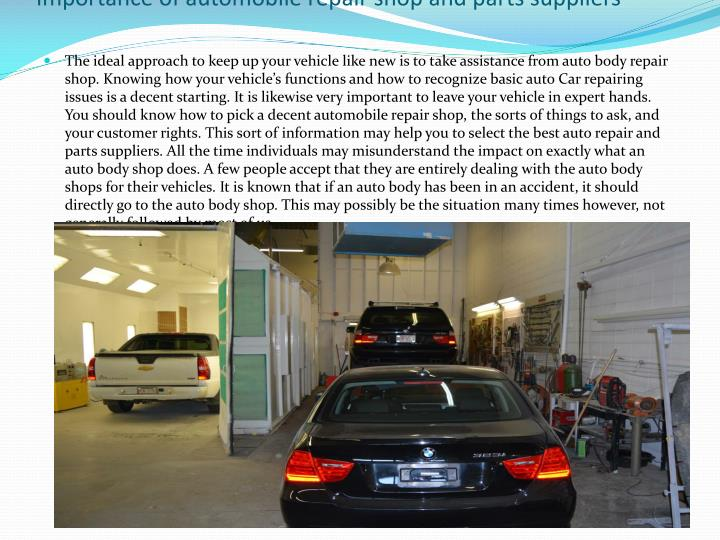 importance of automobile repair shop and parts suppliers n.