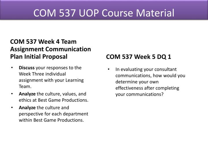 com 537 week 6 communication plan Week session, students usually orgl 537 choice of two of the following electives orgl 522 communication & leadership ethics.