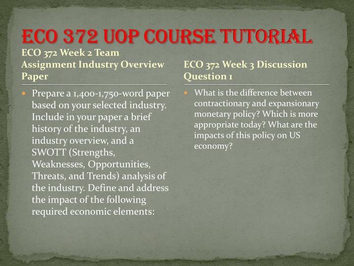 ECO 372 UOP Course