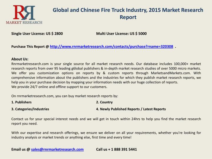 Global and Chinese Fire Truck Industry, 2015 Market Research Report
