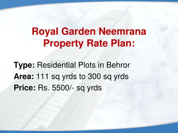 Royal garden neemrana property rate plan