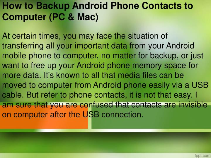 how to backup android phone contacts to computer pc mac n.