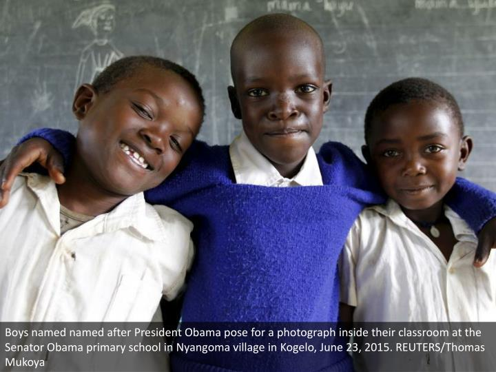 Boys named named after President Obama pose for a photograph inside their classroom at the Senator Obama primary school in Nyangoma village in Kogelo, June 23, 2015. REUTERS/Thomas Mukoya