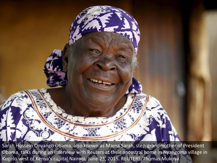 Sarah Hussein Onyango Obama, also known as Mama Sarah, step-grandmother of President Obama, talks during an interview with Reuters at their ancestral home in Nyangoma village in Kogelo west of Kenya's capital Nairobi, June 23, 2015. REUTERS/Thomas Mukoya