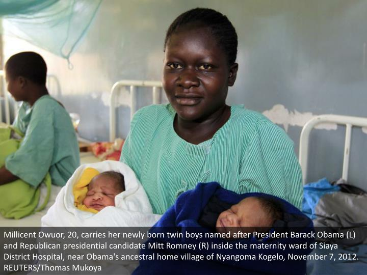 Millicent Owuor, 20, carries her newly born twin boys named after President Barack Obama (L) and Republican presidential candidate Mitt Romney (R) inside the maternity ward of Siaya District Hospital, near Obama's ancestral home village of Nyangoma Kogelo, November 7, 2012. REUTERS/Thomas Mukoya