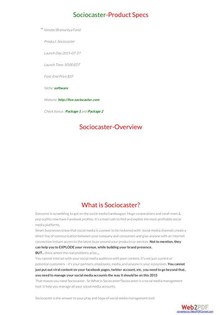 Sociocaster-Product Specs