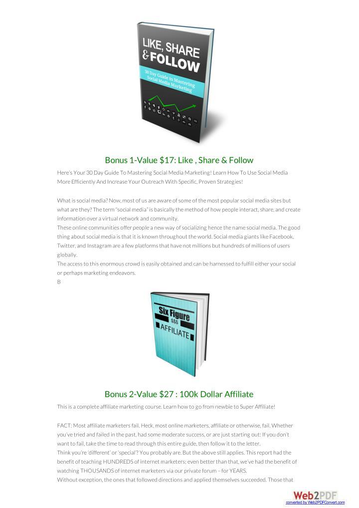 Bonus 1-Value $17: Like , Share & Follow