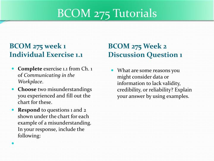 bcom 275 Easily share your publications and get them in front of issuu's millions of monthly readers title: bcom 275 week 5 career plan reflection paper, author.