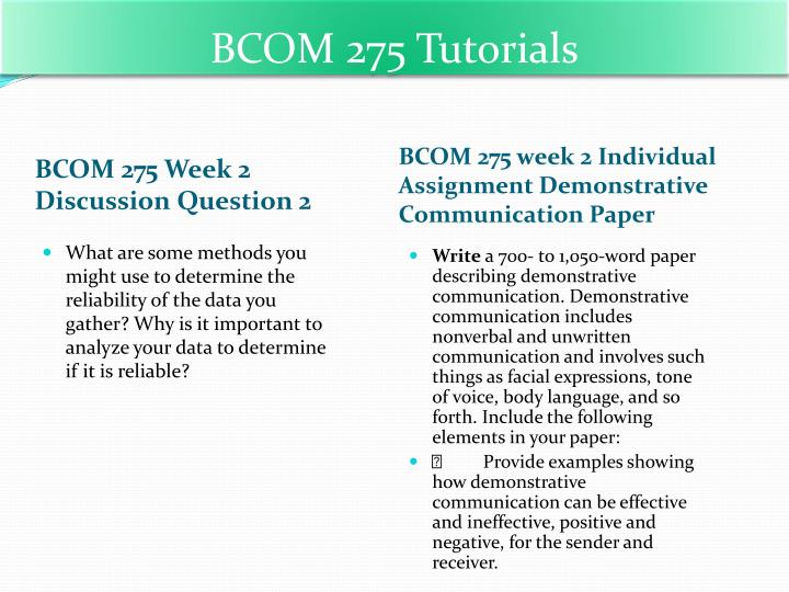 bcom 275 week 1 discussion question