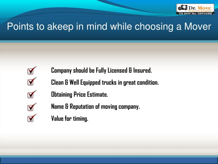 Points to akeep in mind while choosing a Mover