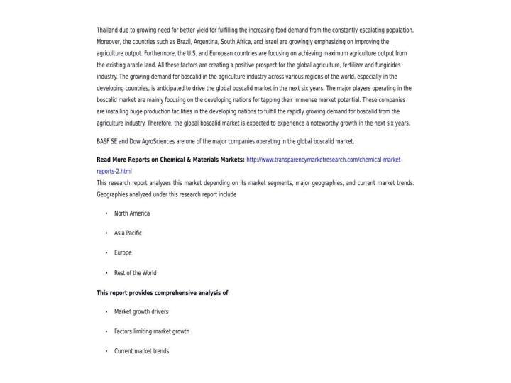 Boscalid market global industry analysis 2015 2023