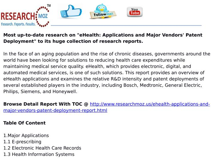 """Most up-to-date research on """"eHealth: Applications and Major Vendors' Patent"""