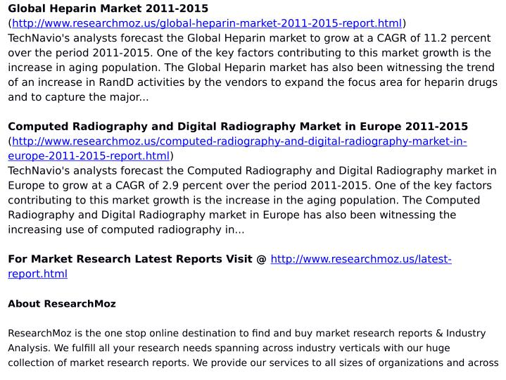 Global Heparin Market 2011-2015