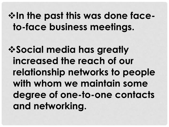 In the past this was done face-to-face business meetings.