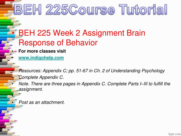 beh 225 brain response of beahvior quiz Beh 225 week 1 assignment brain response of behavior appendix c beh 225 week 1 appendix b research methods matrix beh 225 week 2 assignment by student.