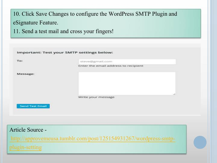 10. Click Save Changes to configure the