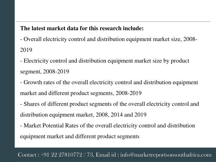 The latest market data for this research include: