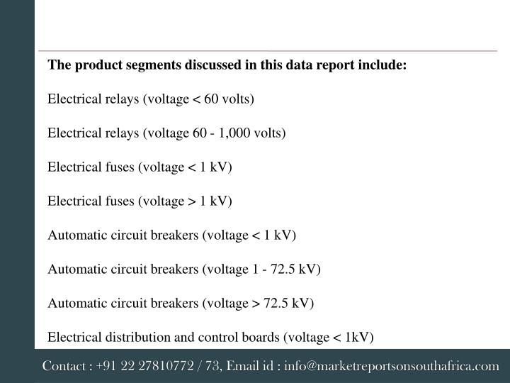 The product segments discussed in this data report include: