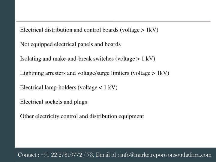 Electrical distribution and control boards (voltage > 1kV)