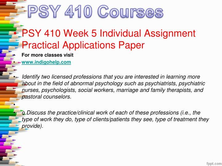 psy 410 week 2 individual paper
