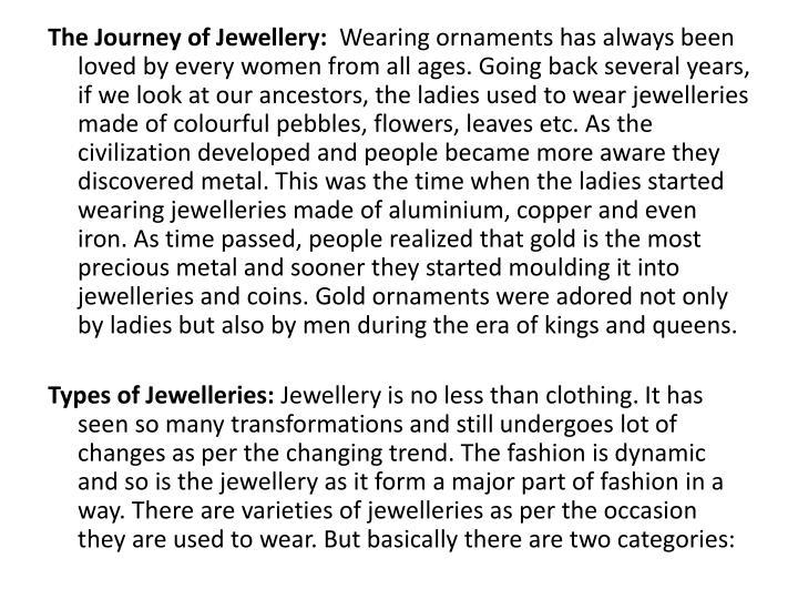 The Journey of Jewellery