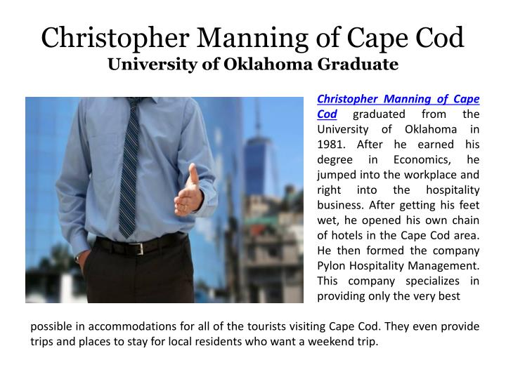 Christopher manning of cape cod university of oklahoma graduate