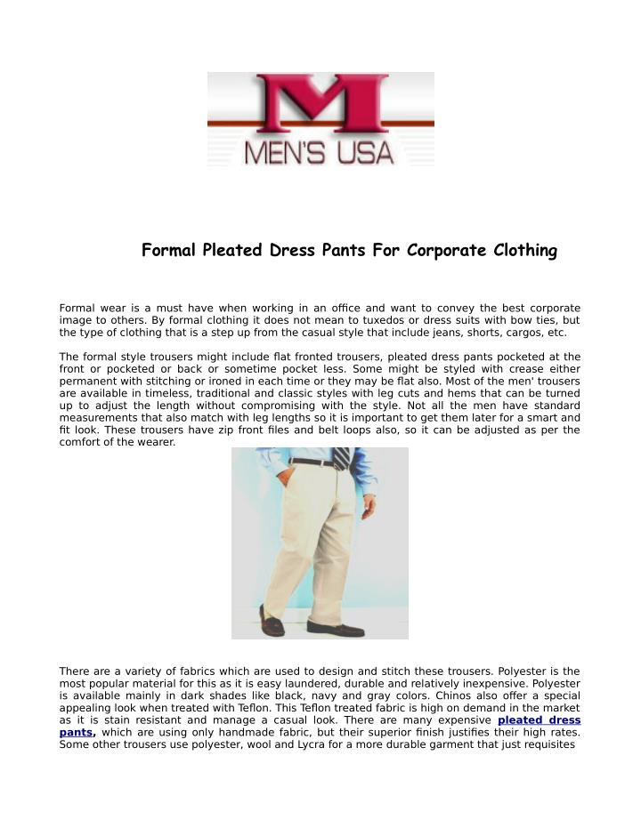 Formal Pleated Dress Pants For Corporate Clothing