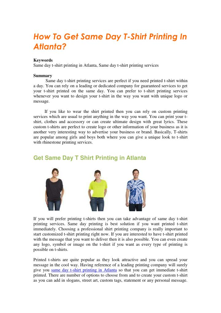 ppt how to get same day t shirt printing in atlanta