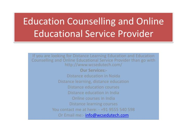 education counselling and online educational service provider n.