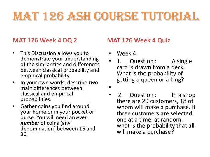 mat 126 week 5 discussion questions