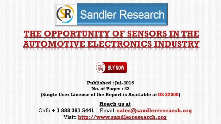 the opportunity of sensors in the automotive electronics industry n.