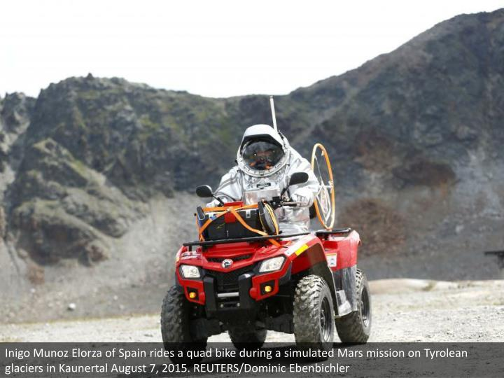 Inigo Munoz Elorza of Spain rides a quad bike during a simulated Mars mission on Tyrolean glaciers i...