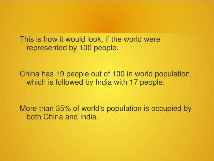 This is how it would look, if the world were represented by 100 people.
