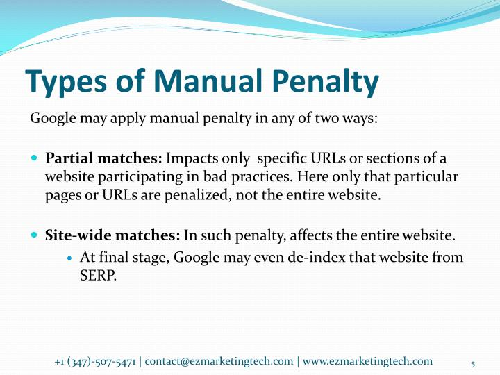 Types of Manual Penalty