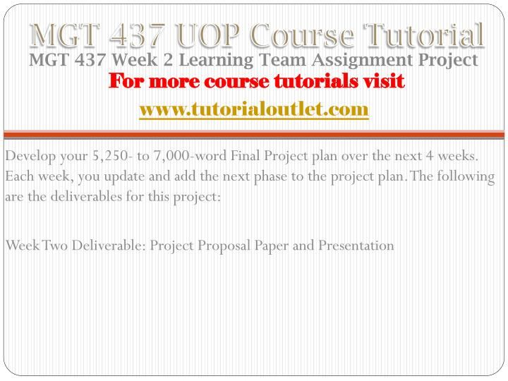 MGT 437 UOP Course