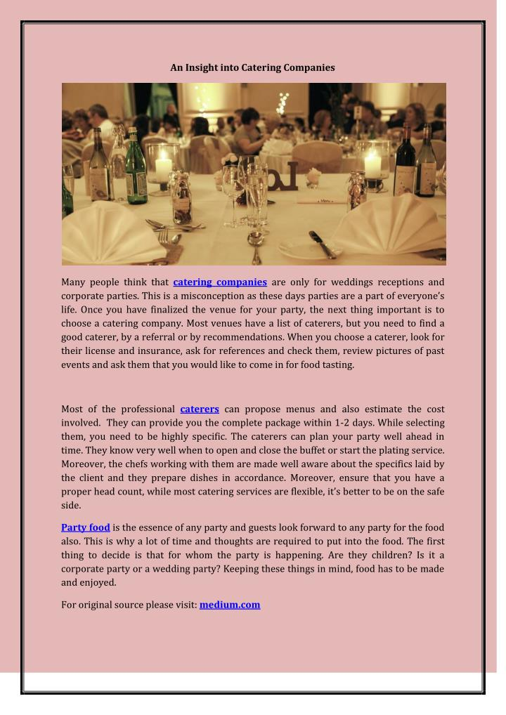 An Insight into Catering Companies