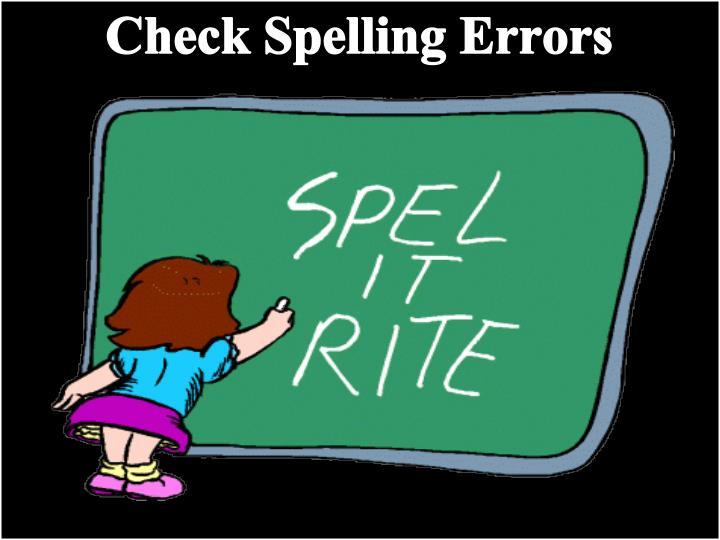 Check Spelling Errors