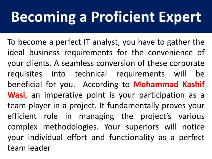 Becoming a proficient expert