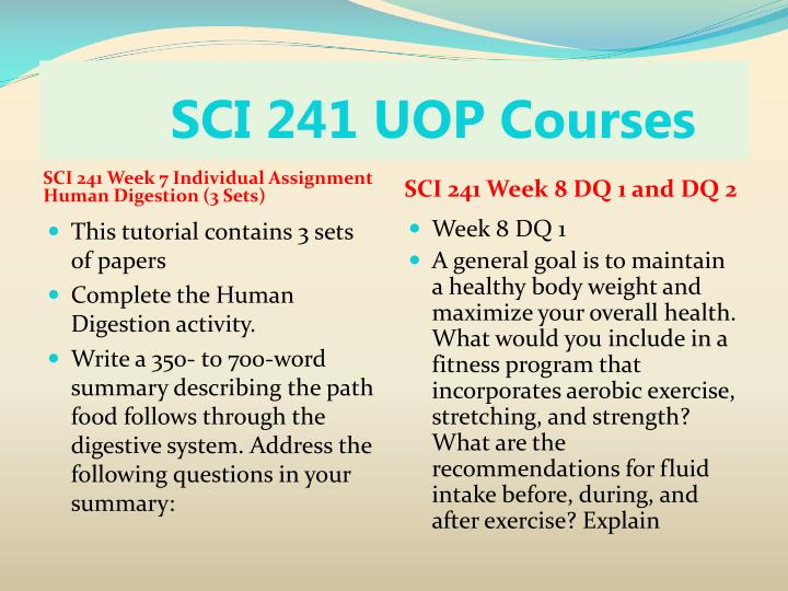 sci 241 week 1 individual goal statement Sci 241 week 1 individual assignment individual goal statement (2 sets)/uoptutorial for more course tutorials visit wwwuoptutorialcom this tutorial contains 2 different papers write a 250- to 450-word goal statement discussing your current and future health and fitness status.