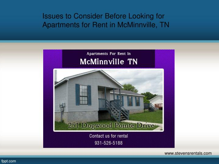 Ppt Issues To Consider Before Looking For Apartments For