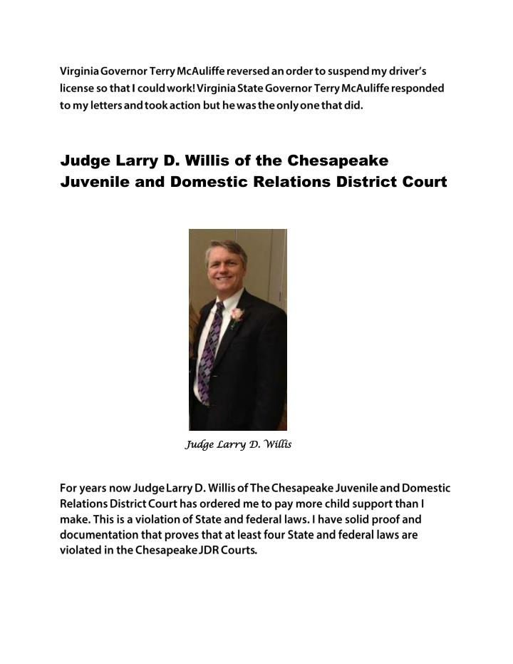 Judge Larry D. Willis of the Chesapeake