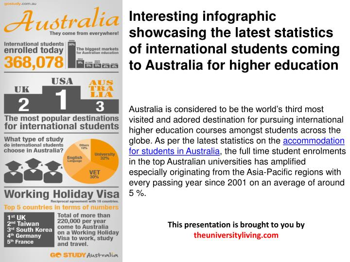 Interesting infographic showcasing the latest statistics of international students coming to Austral...