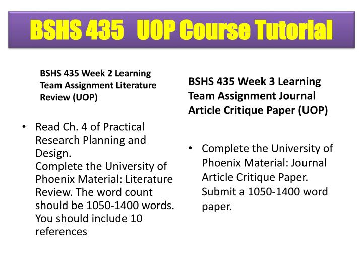 university of phoenix nursing 443 research article critique Nursing research article critique 16 away from the work place the researcher from eng 101 at university of phoenix.